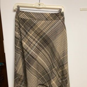 Brown plaid wool skirt size 12 The loft